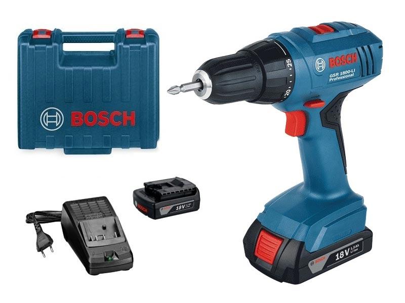 bosch gsr1800 li 18v cordless drill driver 2 x li ion. Black Bedroom Furniture Sets. Home Design Ideas