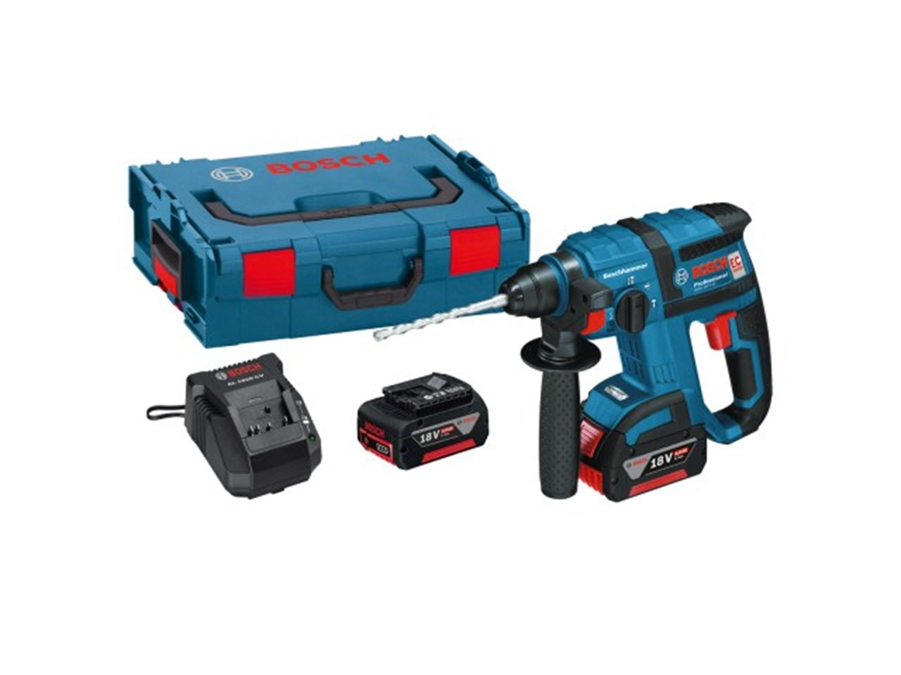 bosch gbh18vec 18v sds plus rotary hammer drill 2 x. Black Bedroom Furniture Sets. Home Design Ideas