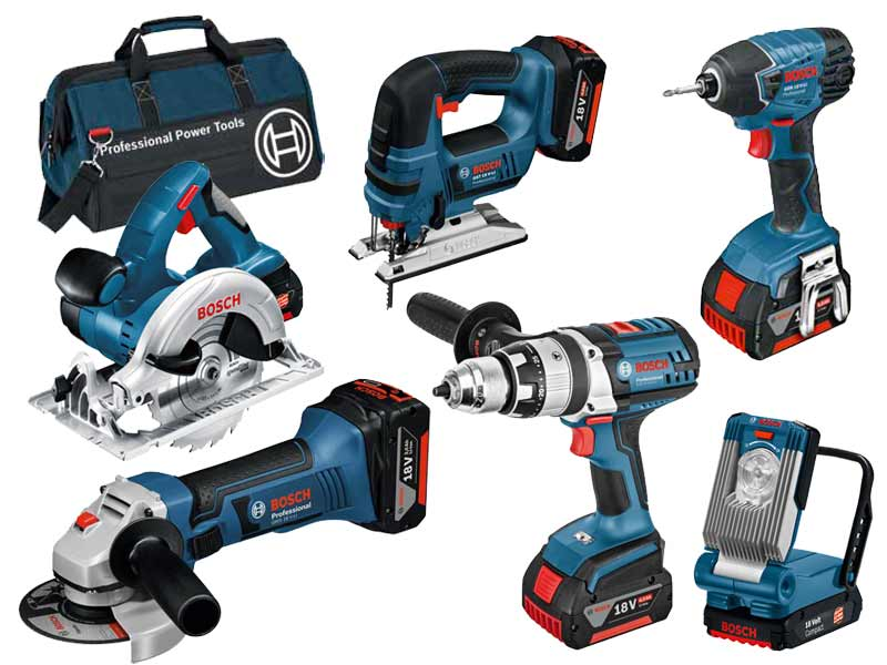 bosch bag 6rs 18v 6pc cordless tool kit 3x 4 0ah li ion in tool bag. Black Bedroom Furniture Sets. Home Design Ideas