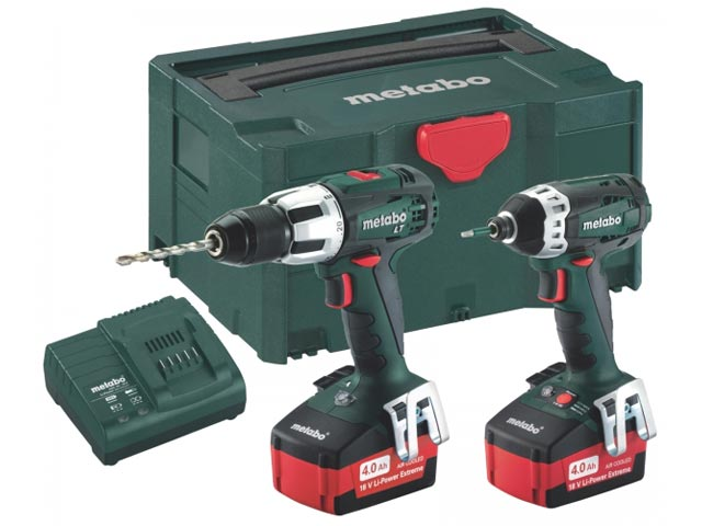 Metabo 685032000 18v Twin Pack SB18LT SSD18 2x4.0Ah in Metaloc