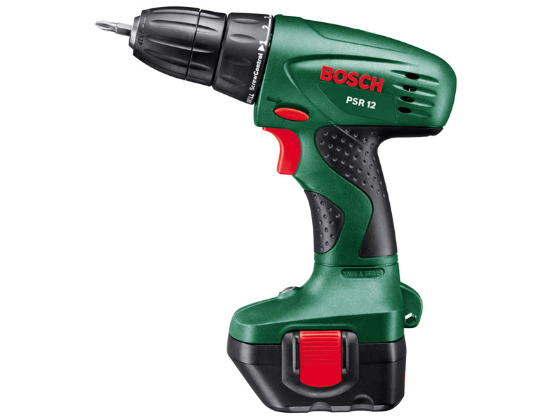 bosch green psr12 12v cordless drill driver 2 x battery and case. Black Bedroom Furniture Sets. Home Design Ideas