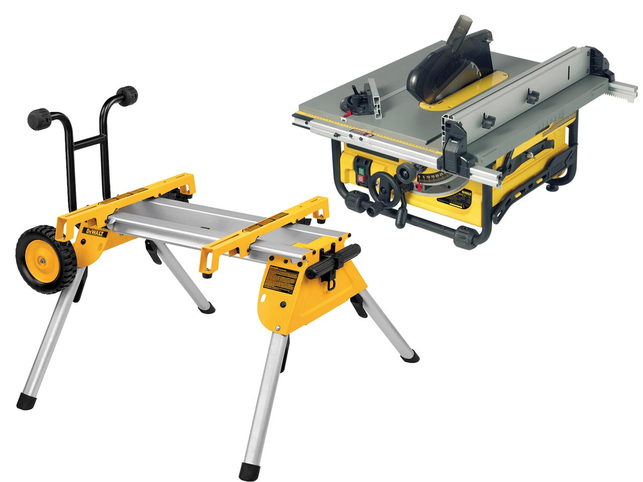 Dewalt dw745rsl 110v portable site saw with de7400 stand for 110v table saws