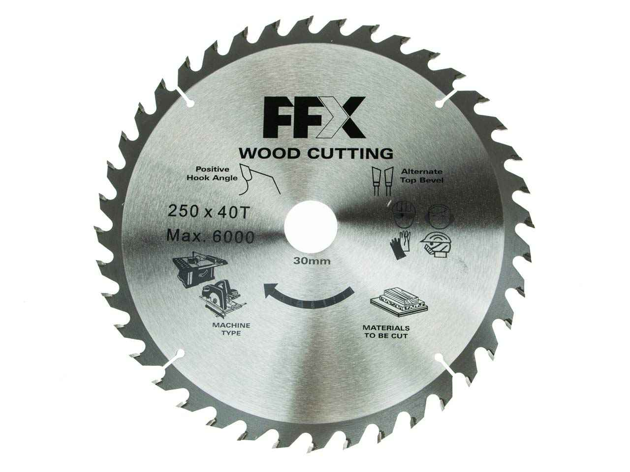 Ffx Qq0102500350 250mm X 40t X 30mm Tct Table Saw Blade