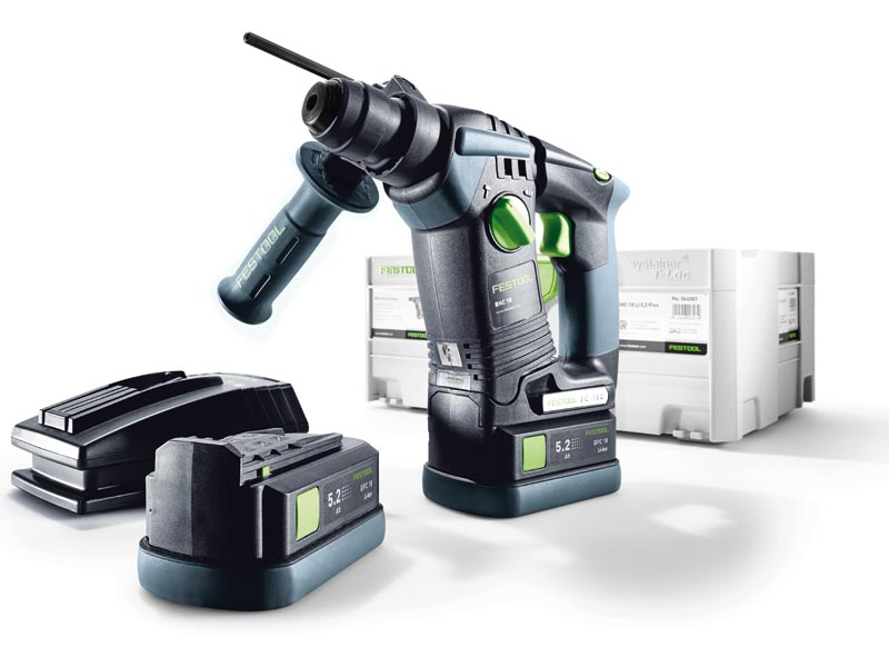 festool bhc18 li 5 2 gb 18v sds plus cordless hammer drill 2 x 5 2ah li ion. Black Bedroom Furniture Sets. Home Design Ideas