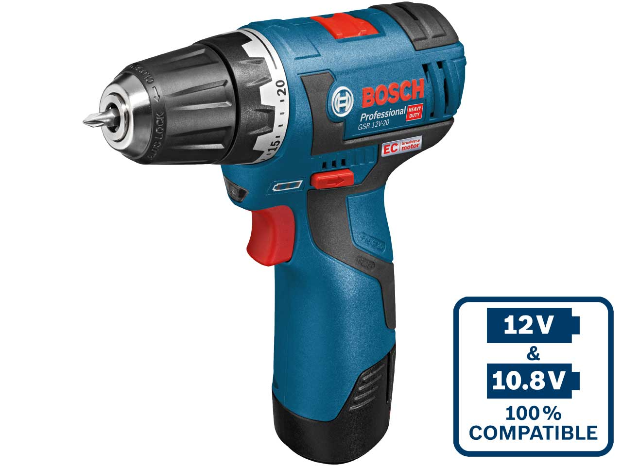 bosch gsr12v20 12v 2 x 2 0ah li ion brushless drill driver 10mm chuck. Black Bedroom Furniture Sets. Home Design Ideas