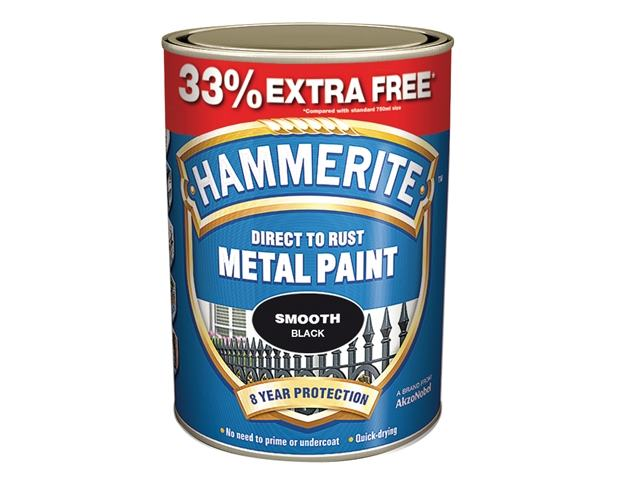 Hammerite 5158235 Direct to Rust Smooth Finish Black 750ml + 33% extra