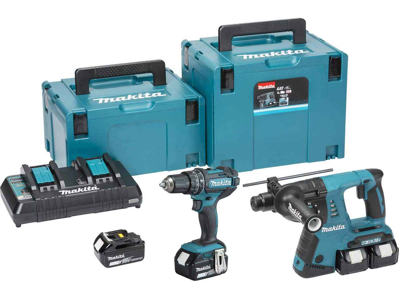 makita dlx2137pmj twin 18v lxt 2 piece makpac combo kit. Black Bedroom Furniture Sets. Home Design Ideas