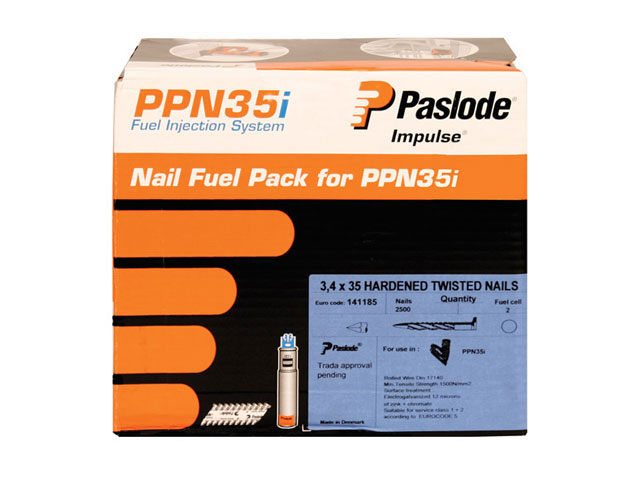 Paslode 141185 35mm Twisted Nails for Placement Nailer 2500 box + 2 cells