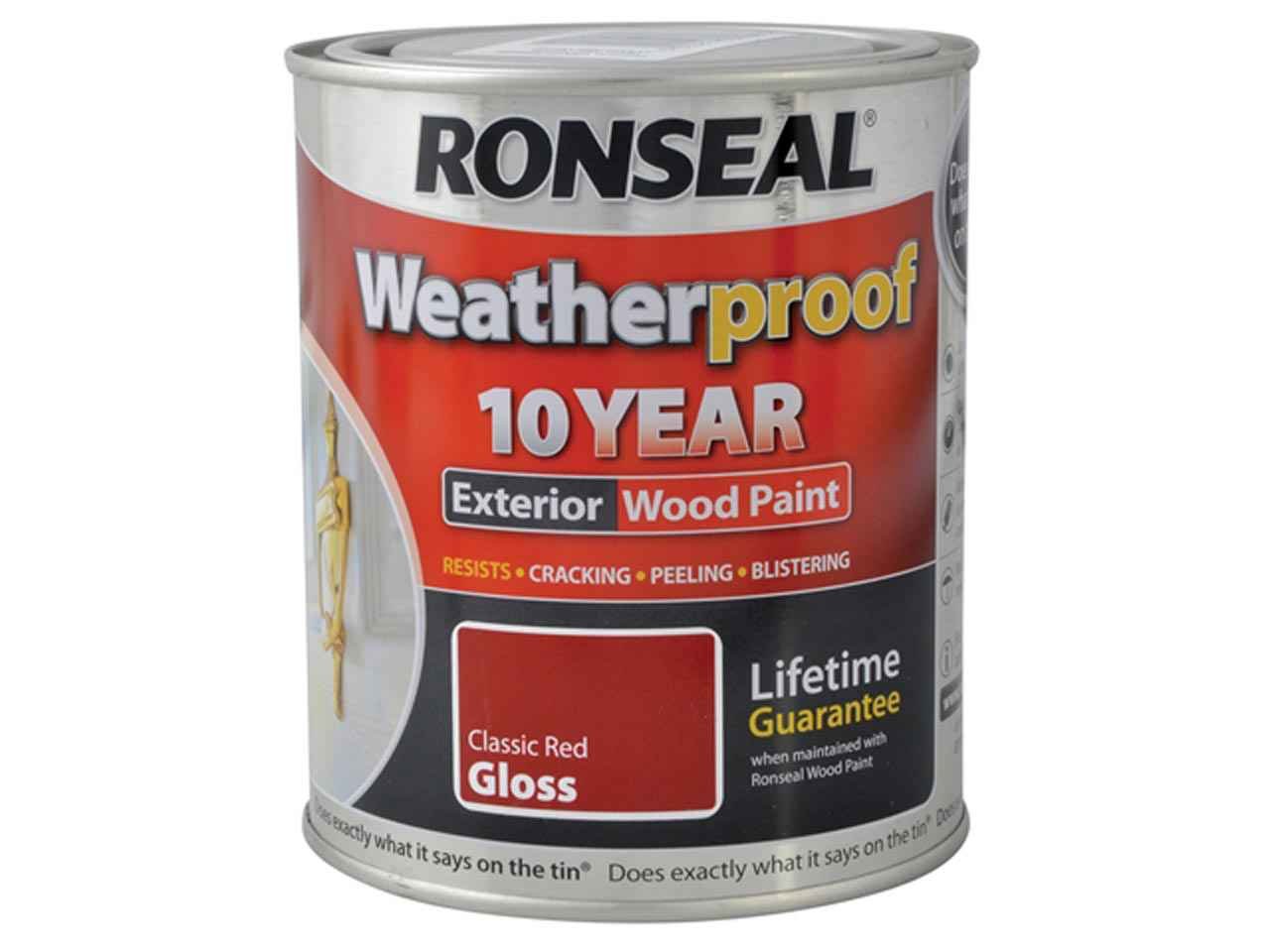 Ronseal 36476 Weatherproof 10 Year Exterior Wood Paint Cherry Red Gloss 750ml