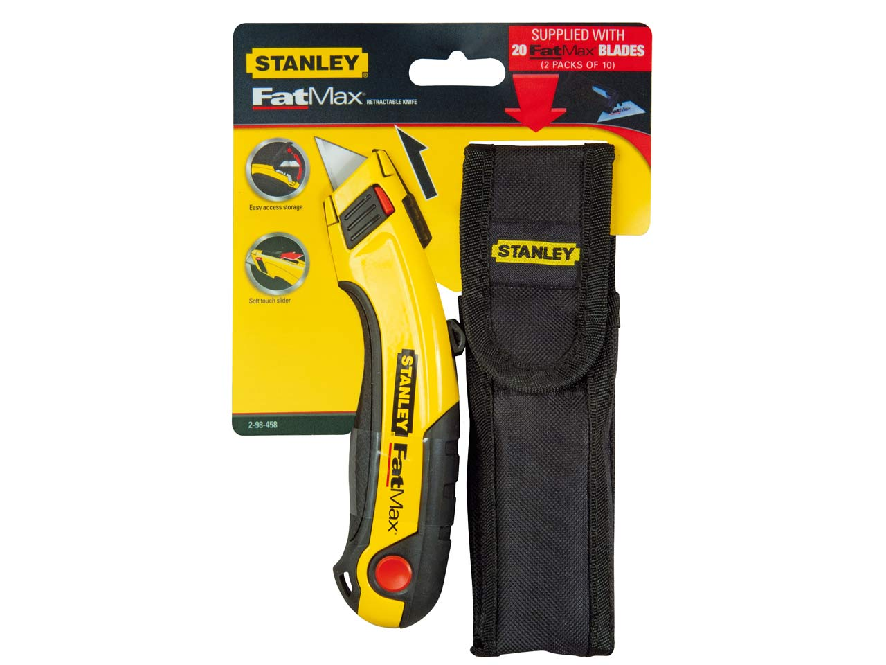 stanley sta298458 fatmax retractable utility knife holster blades. Black Bedroom Furniture Sets. Home Design Ideas