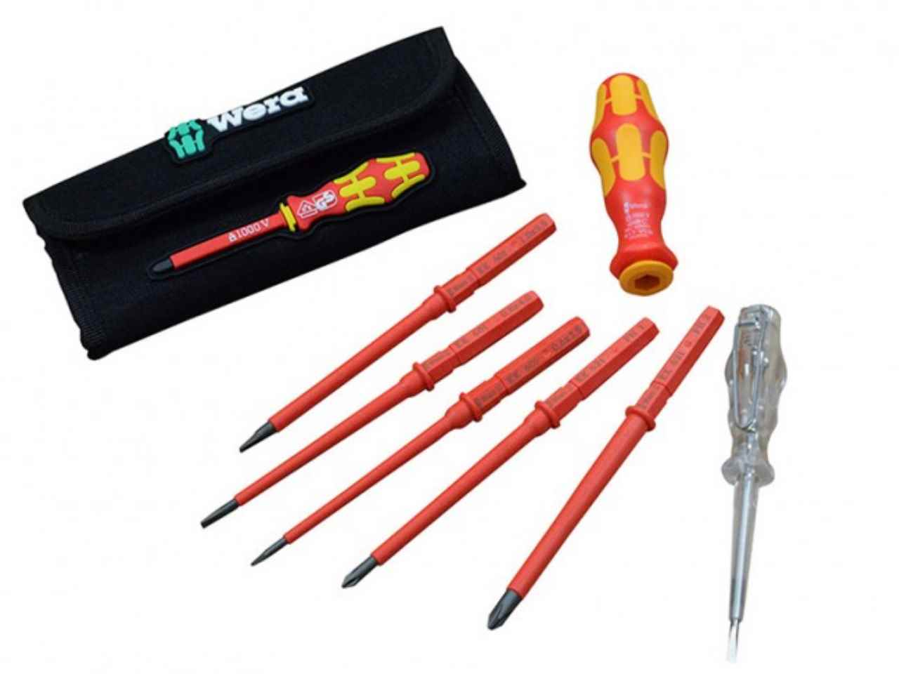 wera xms16vde7 vde interchangeable blade screwdriver set 7 piece. Black Bedroom Furniture Sets. Home Design Ideas