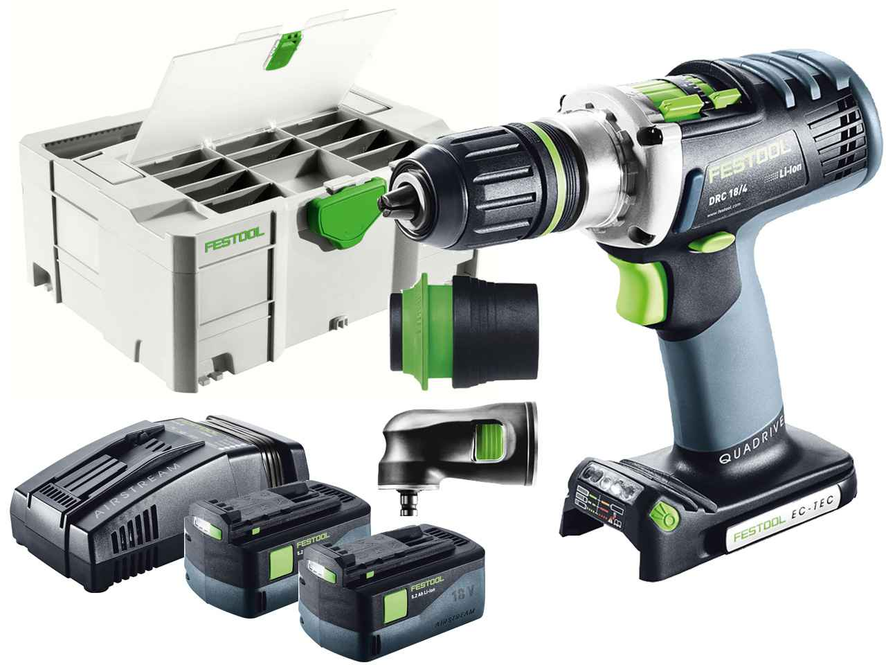 festool drc 18 4 li 5 2 set 18v cordless drill in systainer 2 df t loc. Black Bedroom Furniture Sets. Home Design Ideas