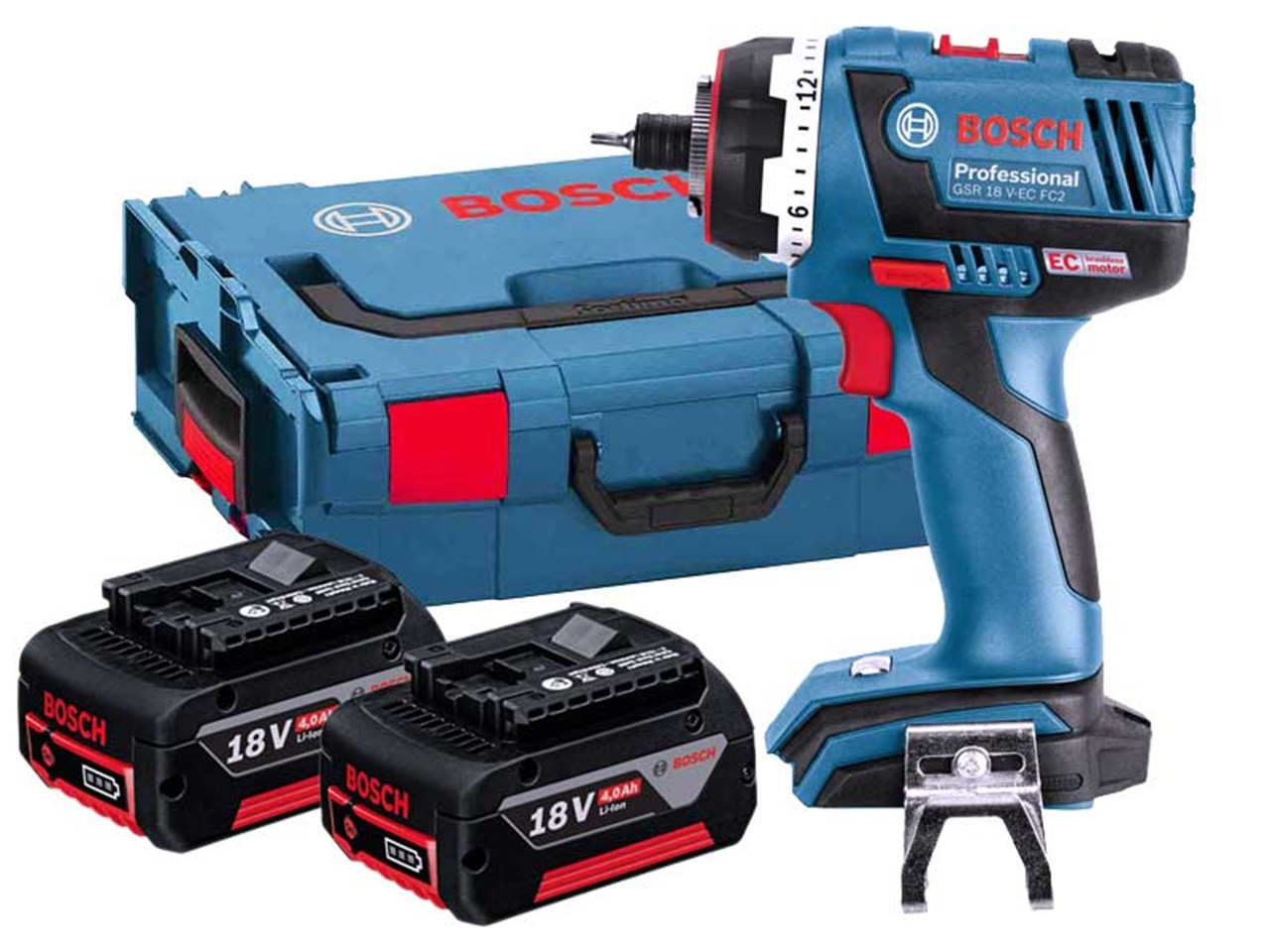 bosch gsr18vecfc2 18v cordless drill flexiclick 2 x 4 0ah li ion. Black Bedroom Furniture Sets. Home Design Ideas