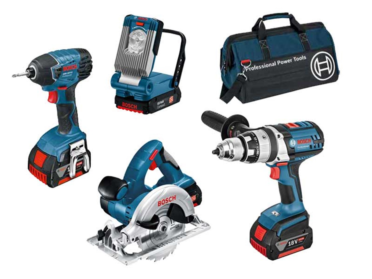 bosch bag 4rs 18v 4 piece cordless tool kit with 3 x 4 0ah. Black Bedroom Furniture Sets. Home Design Ideas