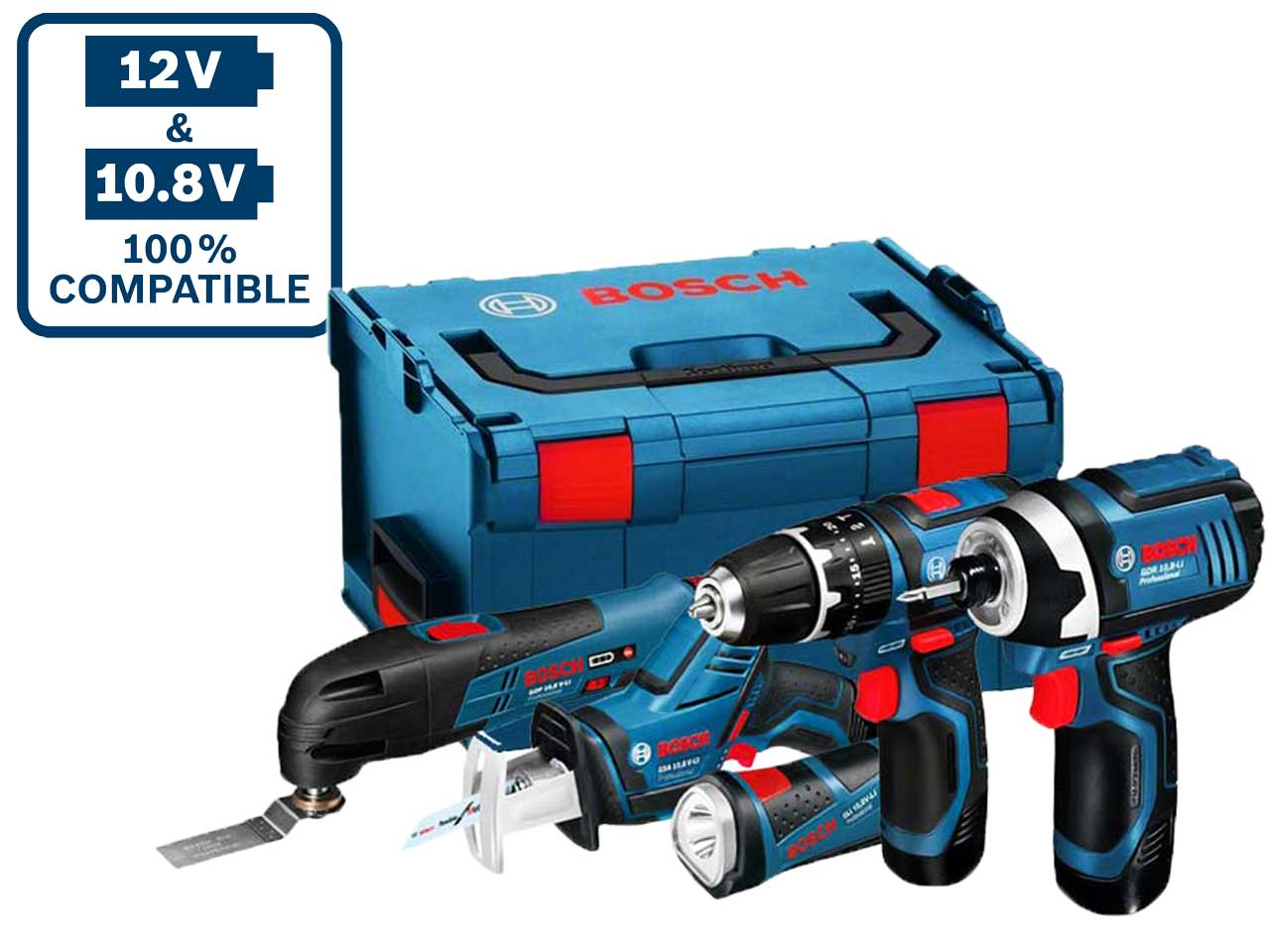 Bosch 12vgsbgdrfive 12v 3 x 2 0ah li ion 5pc power tool kit - Bosch 10 8 v ...