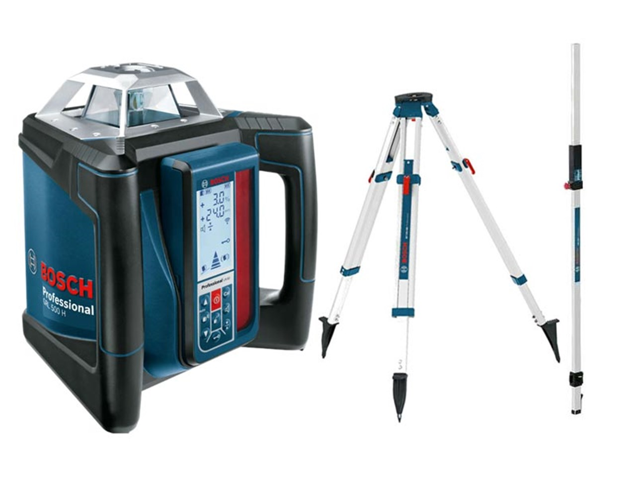 bosch 06159940ee rotary laser level with tripod and cut and fill rod. Black Bedroom Furniture Sets. Home Design Ideas