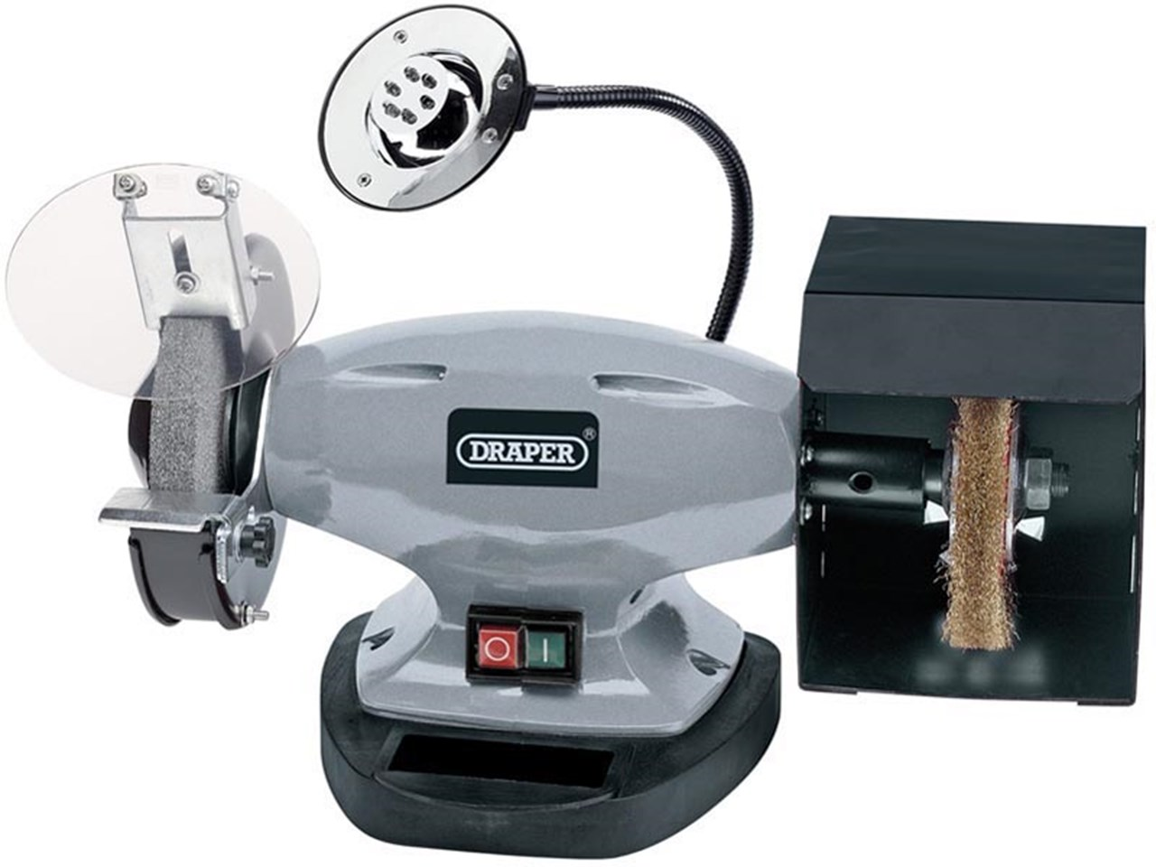 DRAPER 14271 150mm 370W 230V Bench Grinder with Wire Wheel and LED ...
