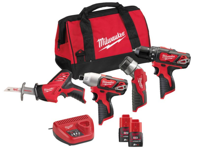 Milwaukee M12BPP4A-202B 12 V 2x2.0Ah Li-ion Red Perceuse Hackzall Torche 4pc