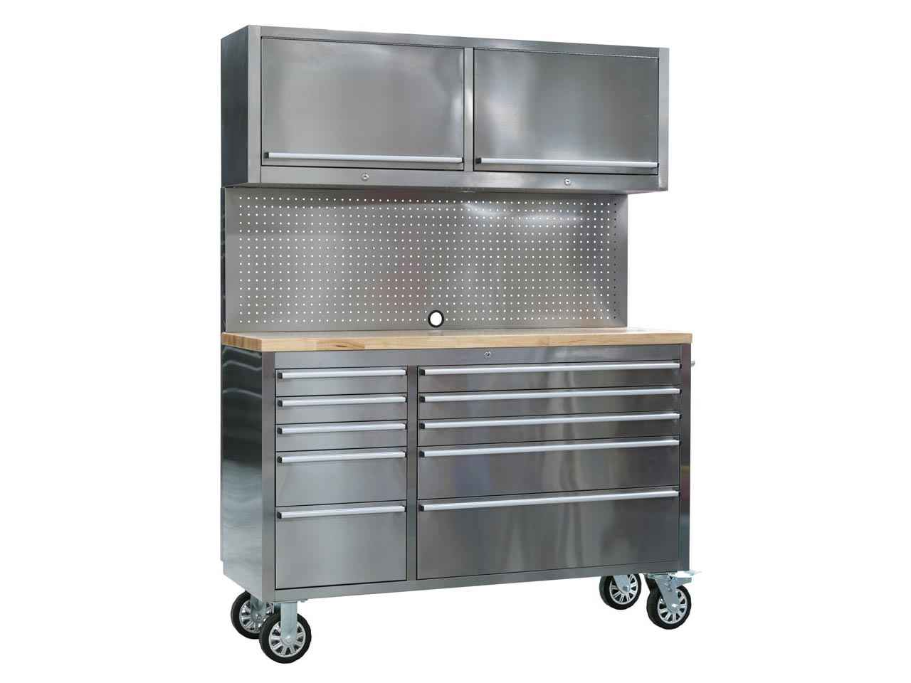 Sealey AP5520SS Mobile Stainless Steel Tool Cabinet 10 Drawer with Backboard u0026 2 Wall Cupboards  sc 1 st  FFX & Sealey AP5520SS Mobile Stainless Steel Tool Cabinet 10 Drawer with ...