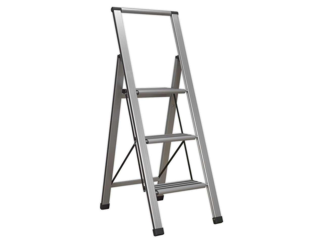 sealey apsl3 aluminium folding step ladder 3step 150kg capacity