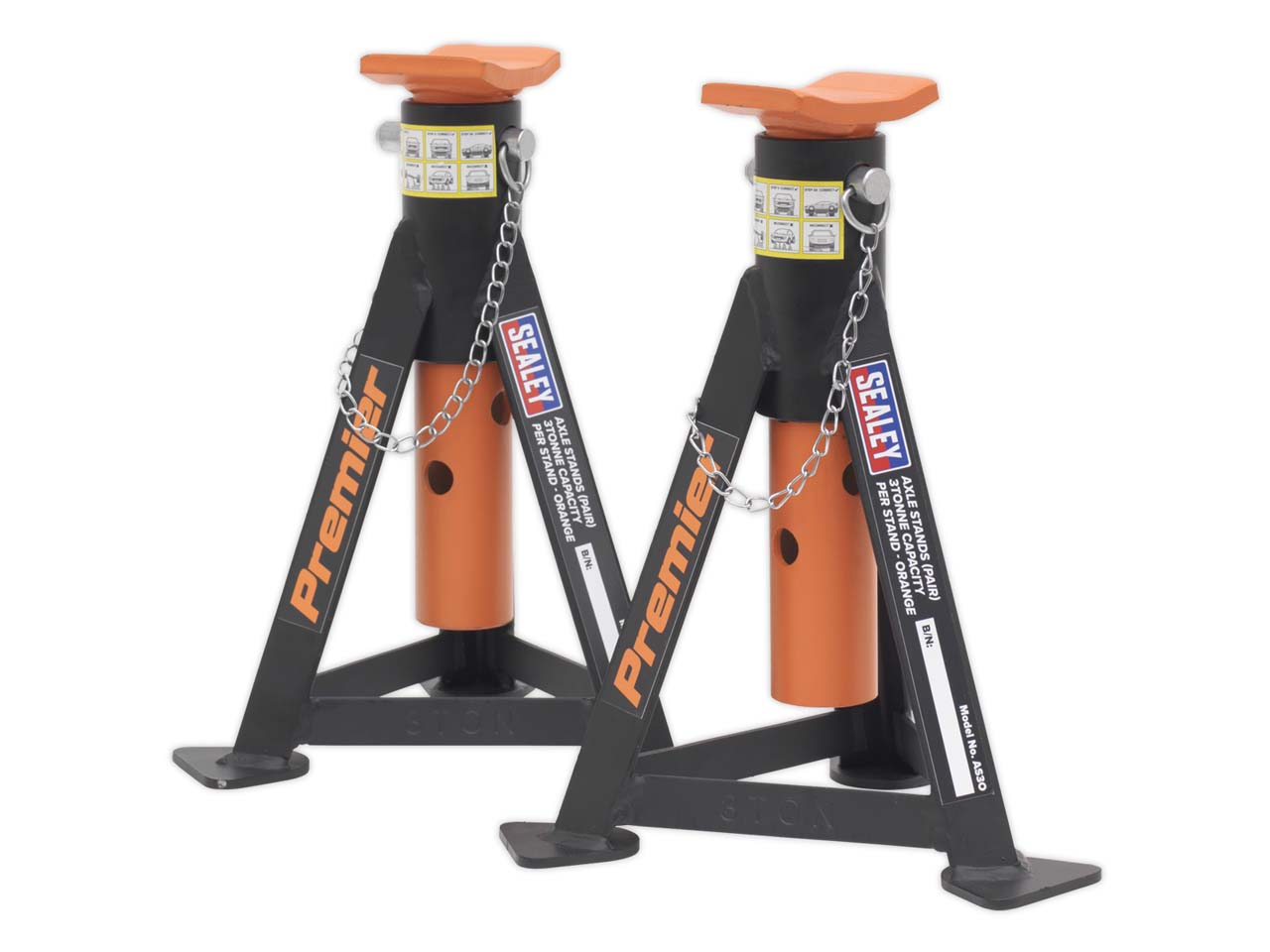 Sealey 3010CX 3tonne Standard Chassis Trolley Jack with Axle Stands Pair