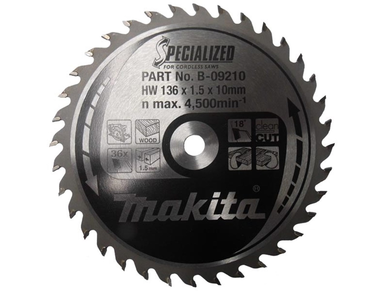 Makita b 09210 136mm x 10mm x 36t specialized circular saw blade greentooth Image collections