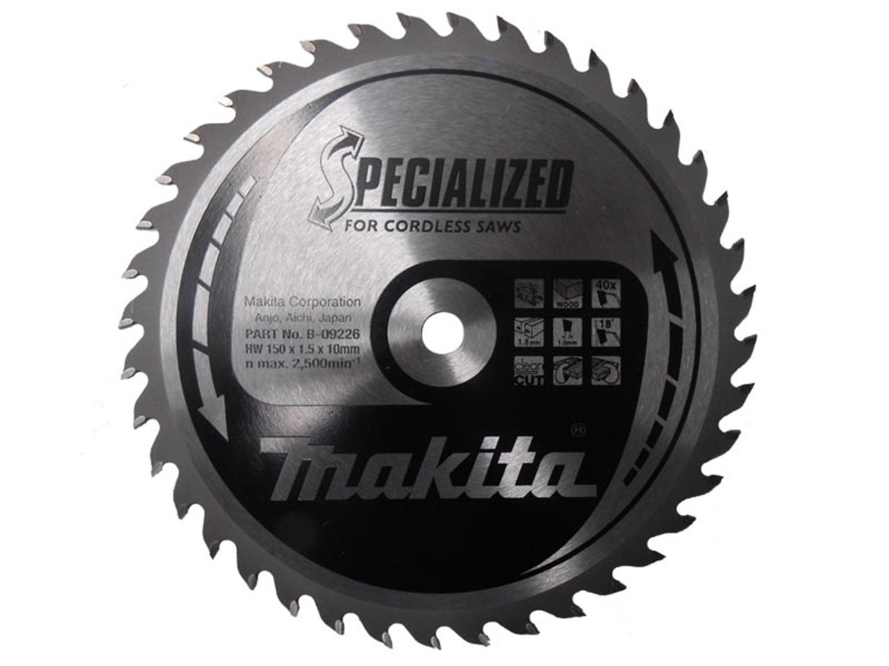 Makita b 09226 150mm x 10mm x 40t specialized circular saw blade greentooth Images