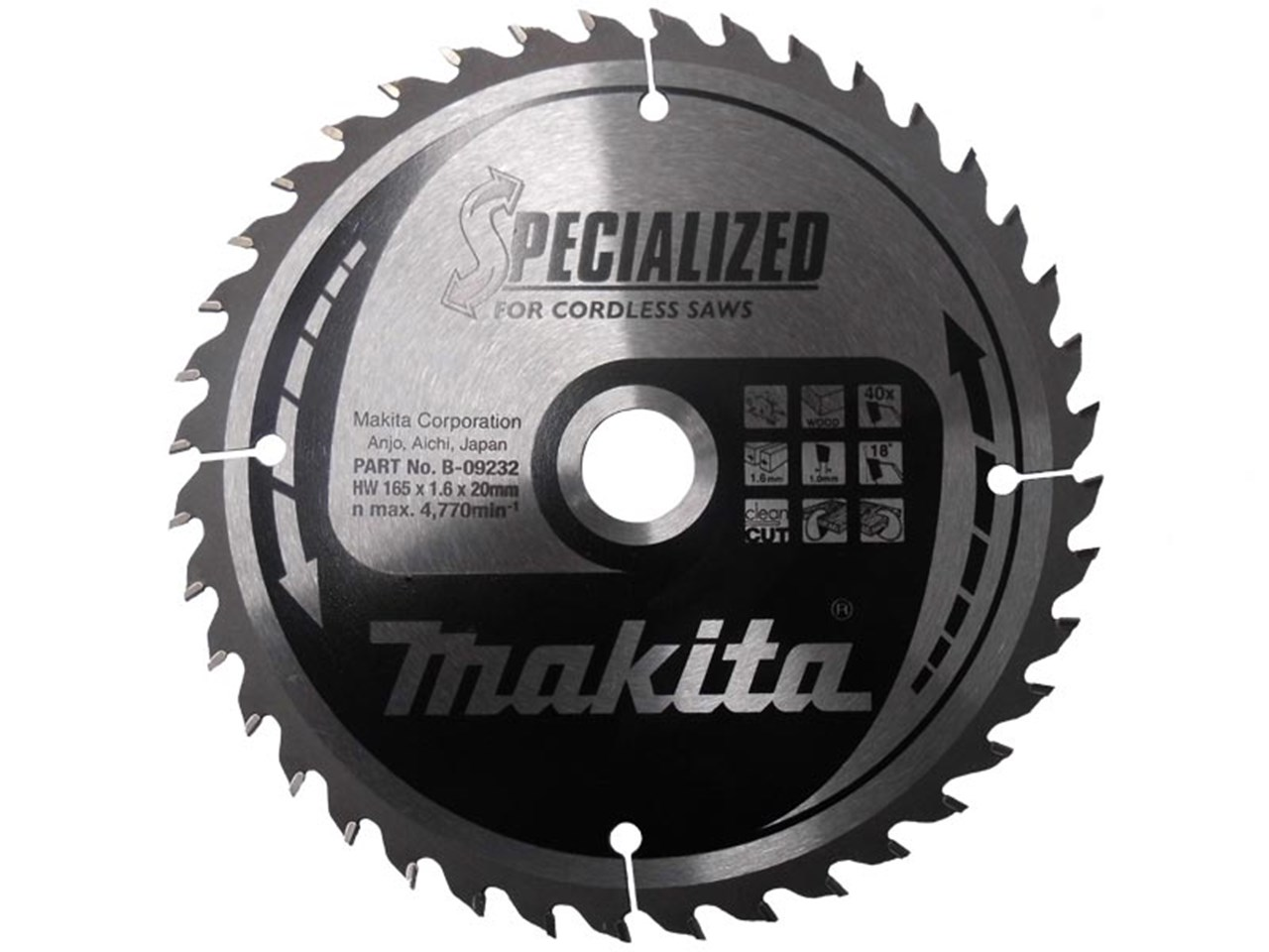 Makita b 09232 165mm x 20mm x 40t specialized circular saw blade greentooth Image collections
