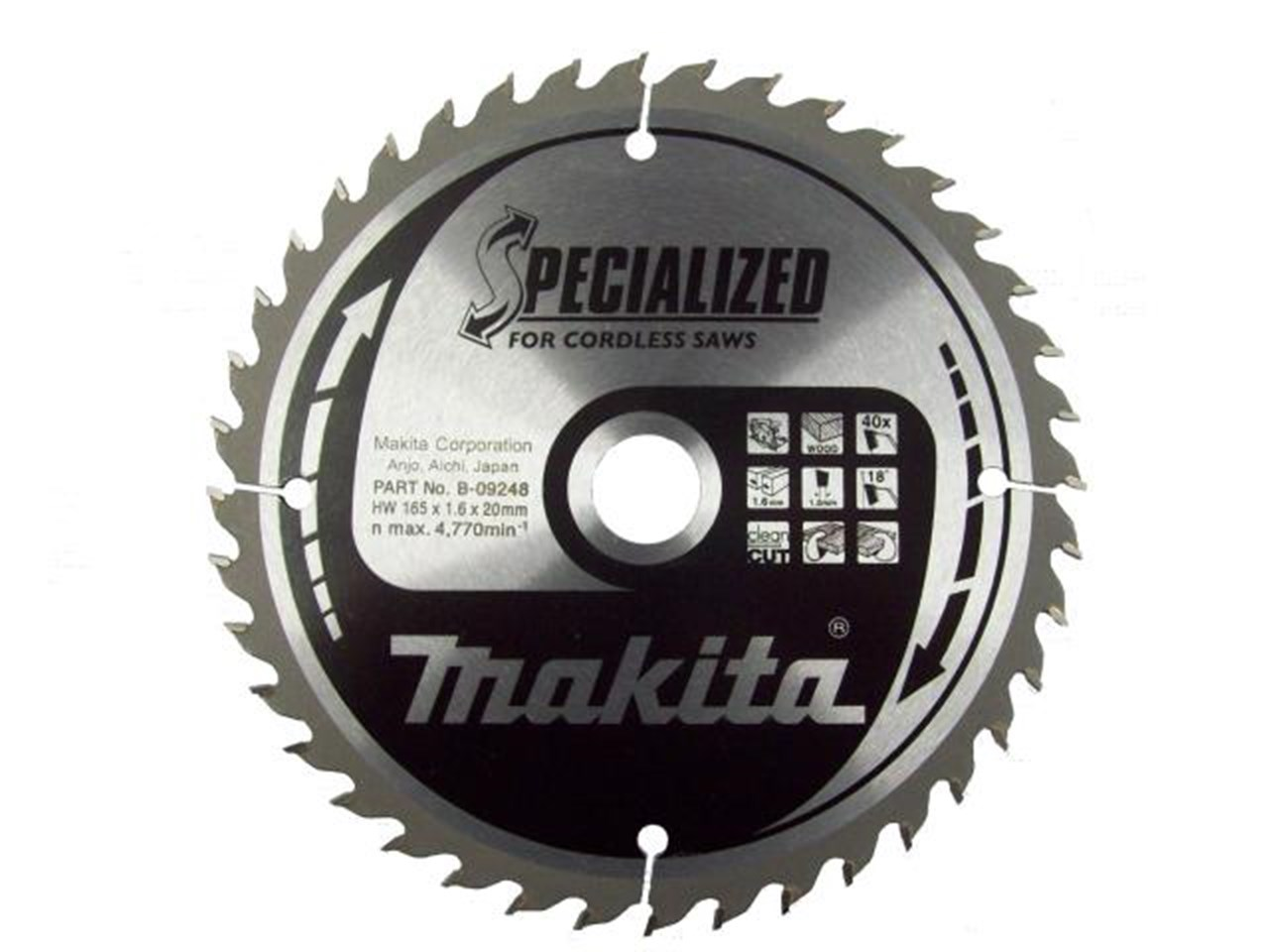 Makita b 09248 165mm x 20mm x 40t specialized circular saw blade greentooth Image collections