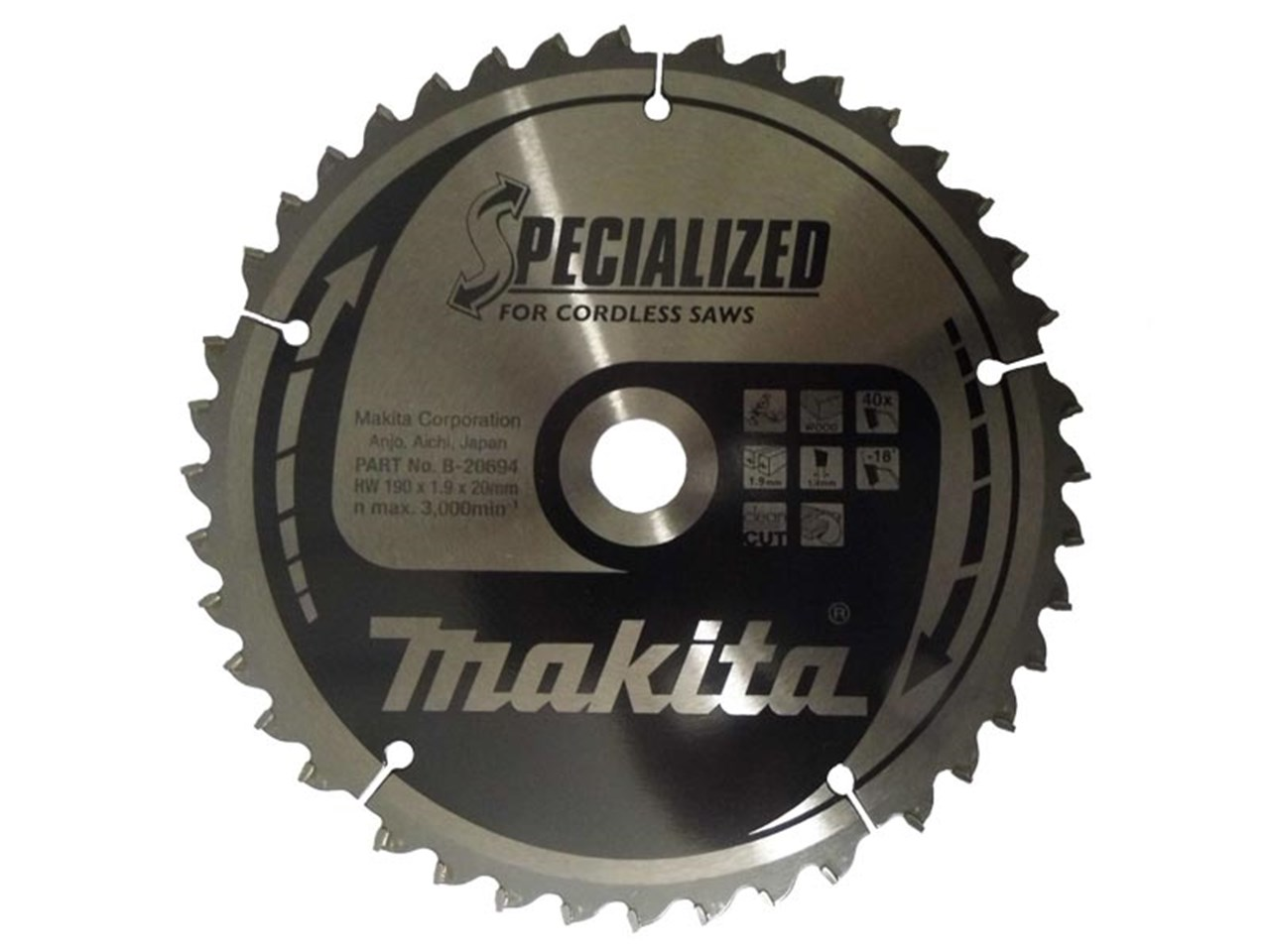 Makita b 20694 190mm x 20mm x 40t specialized circular saw blade greentooth Images