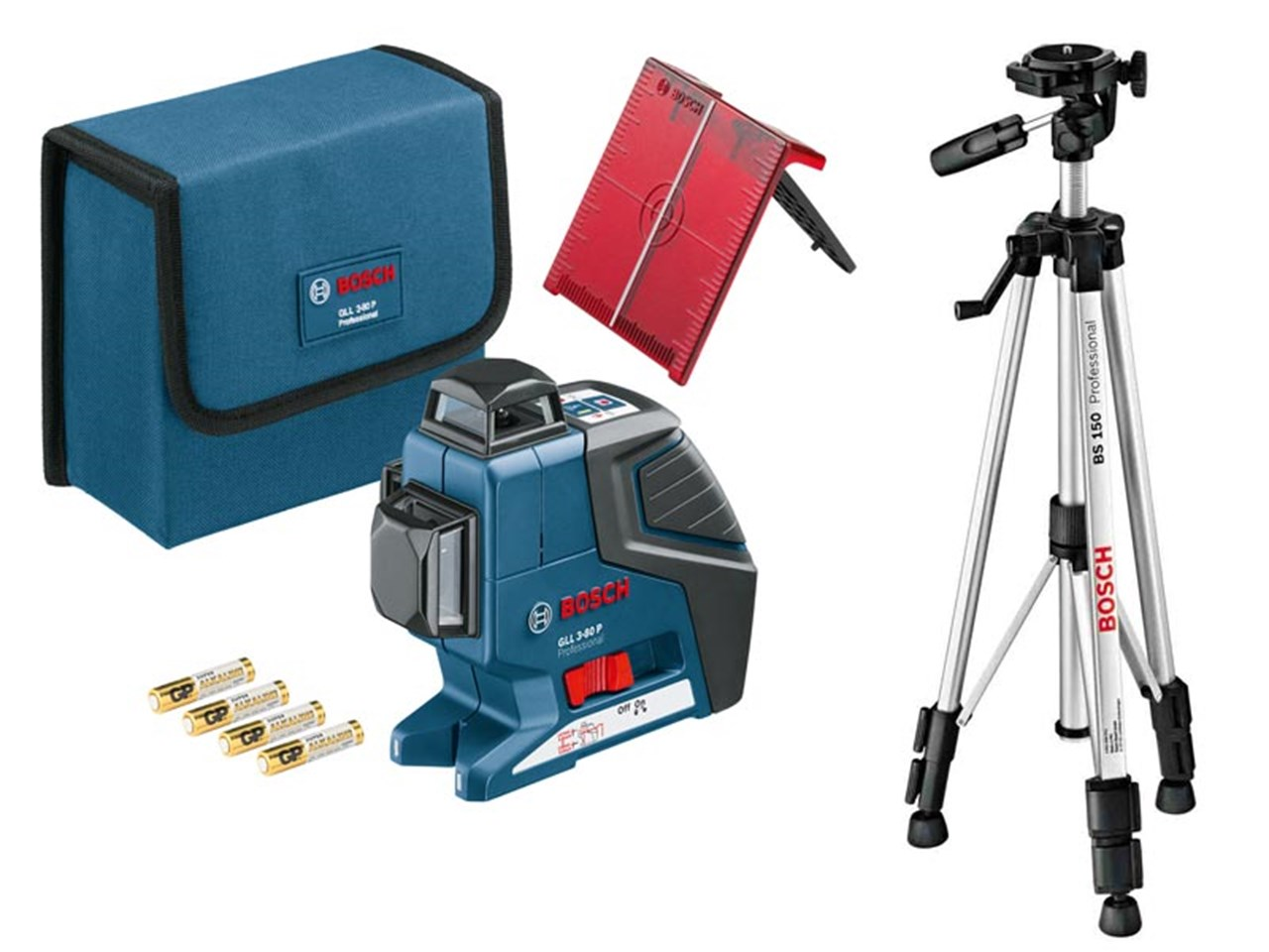 bosch gll380pbs gll 3 80pbs cross line laser and bt150 tripod. Black Bedroom Furniture Sets. Home Design Ideas