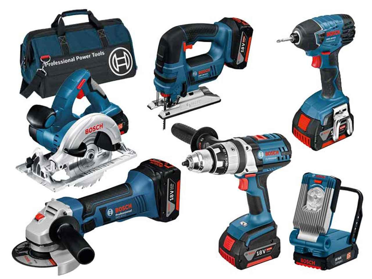 bosch bag6rs 18v 6pc cordless tool kit 3x 4 0ah li ion in tool bag. Black Bedroom Furniture Sets. Home Design Ideas