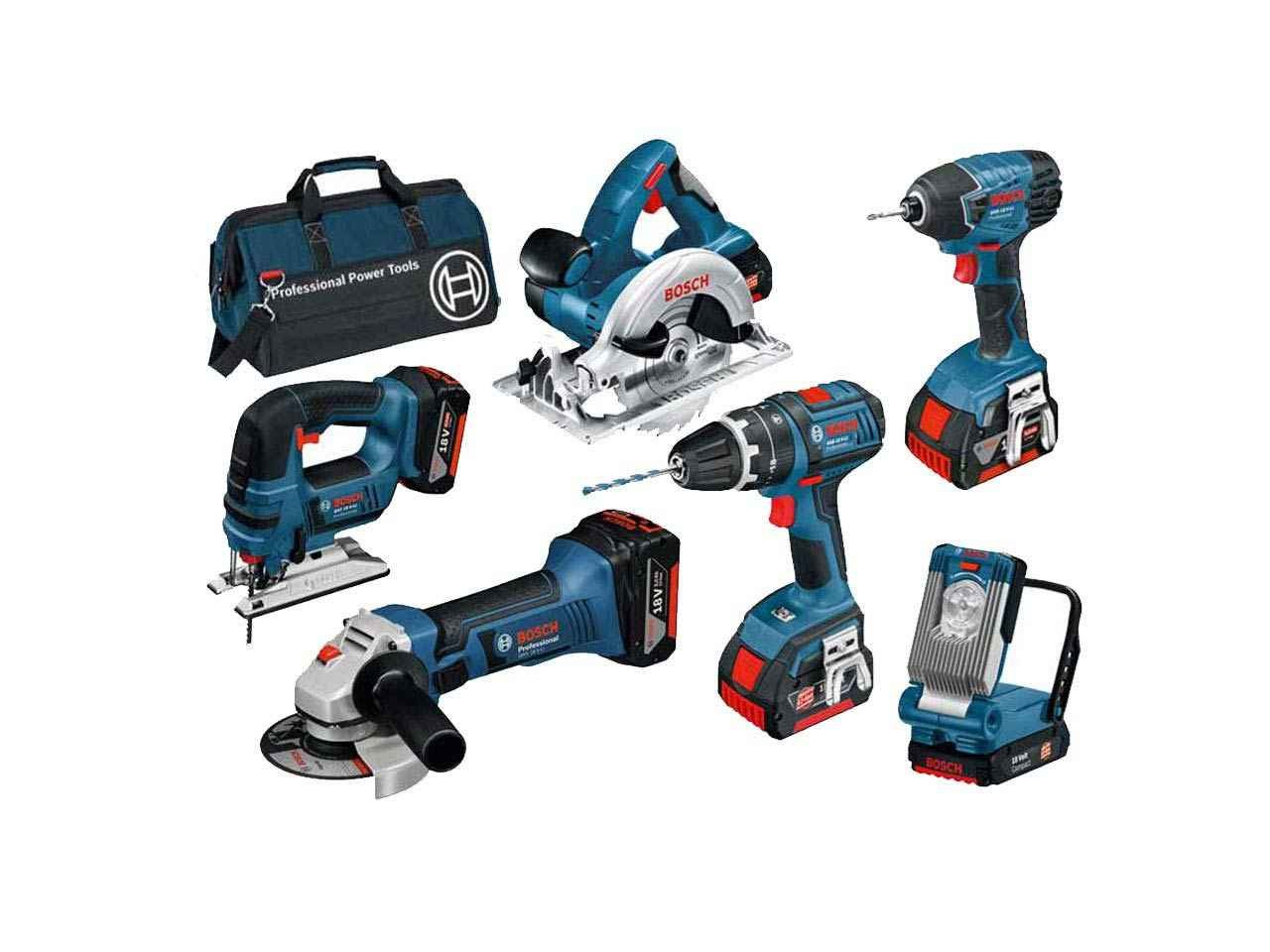 bosch bag6ds 18v 6 piece cordless tool kit with 3 x 4 0ah in bag. Black Bedroom Furniture Sets. Home Design Ideas