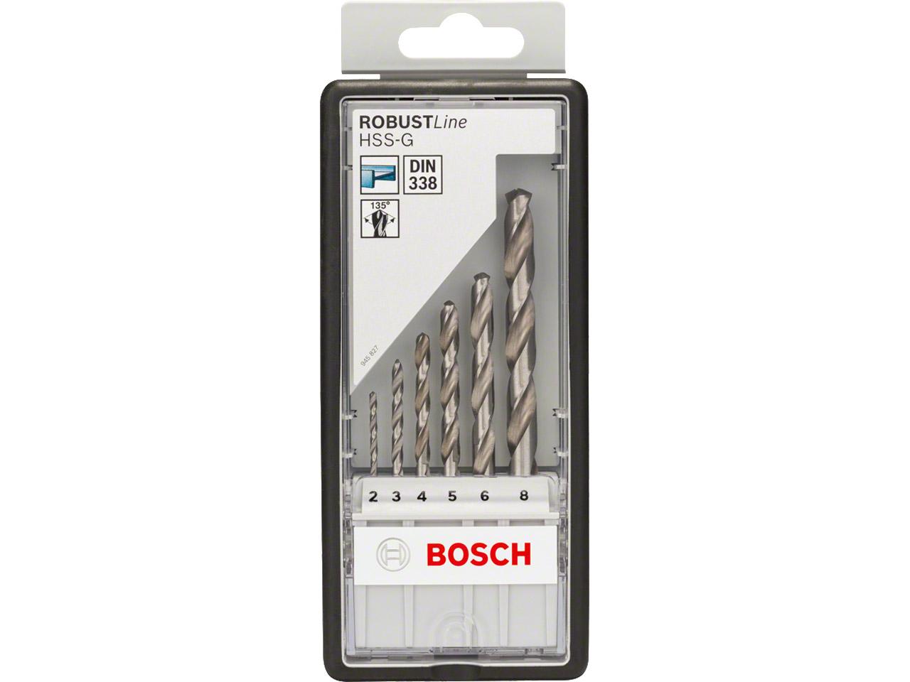 Bosch 2607010529 6pc Hssg Robust Line Metal Drill Bit Set