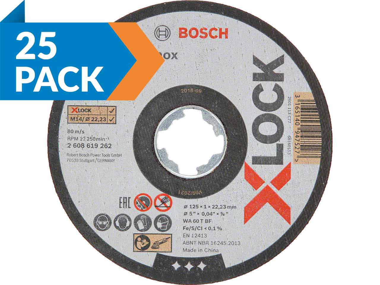 for Metal, X-LOCK, Diameter 125 mm, Bore Diameter: 22.23 mm, Thickness: 6 mm Bosch Professional Grinding Disc with Depressed Centre Expert