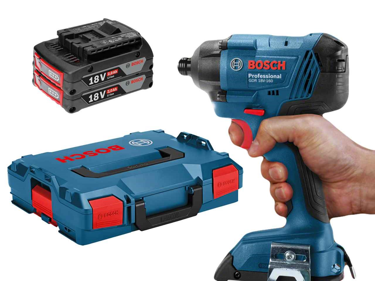 bosch gdr18v160 18v 2x2 0ah li ion impact driver set. Black Bedroom Furniture Sets. Home Design Ideas