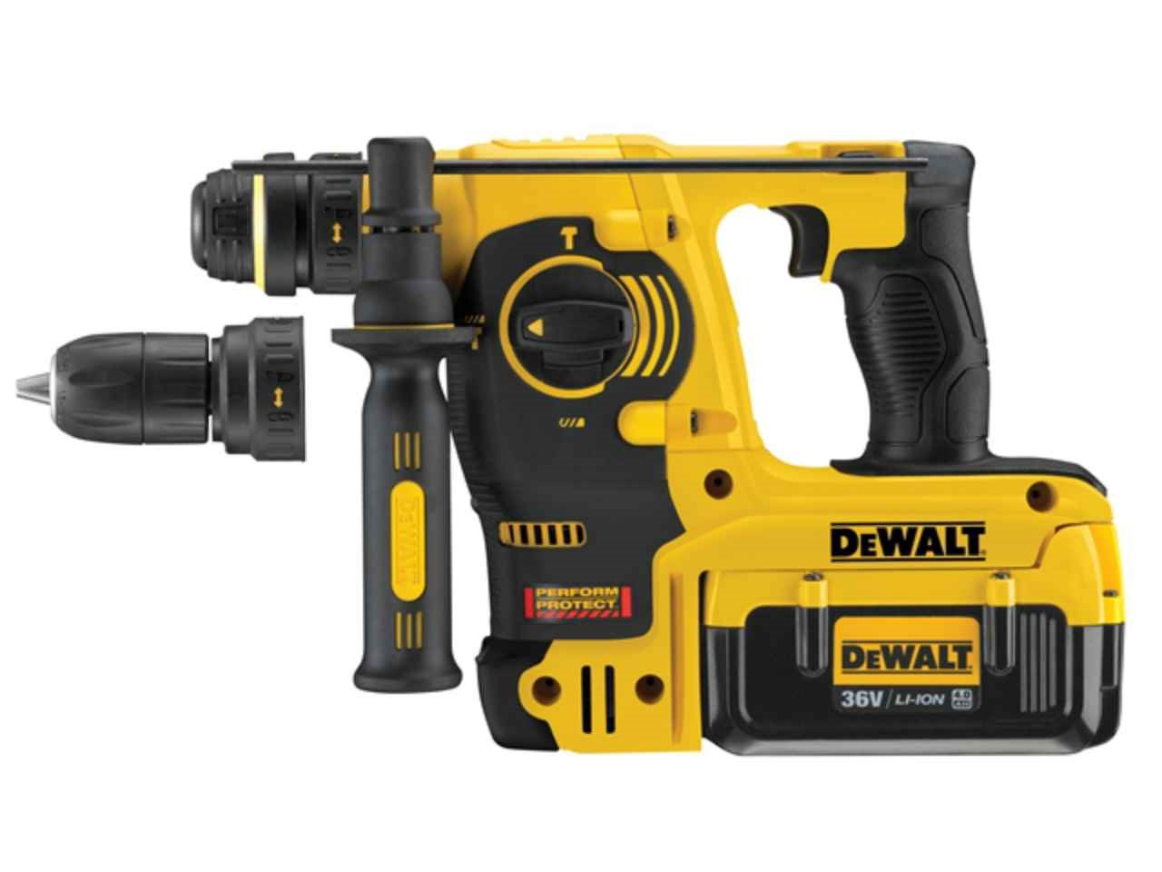 dewalt dch364m2 36v quick change sds hammer drill kit 2 x. Black Bedroom Furniture Sets. Home Design Ideas