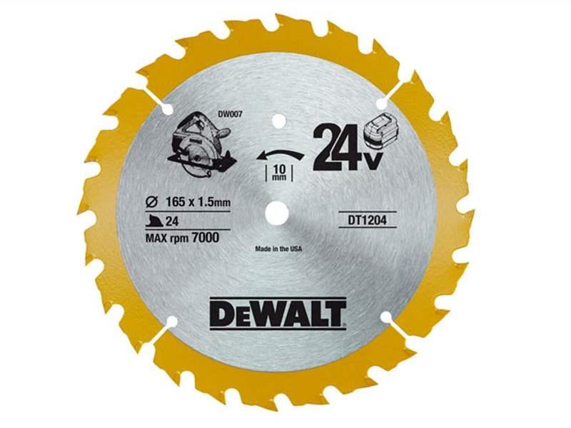Dewalt dt1204qz cordless trim saw blade 165mm x 10mm x 24t greentooth Choice Image