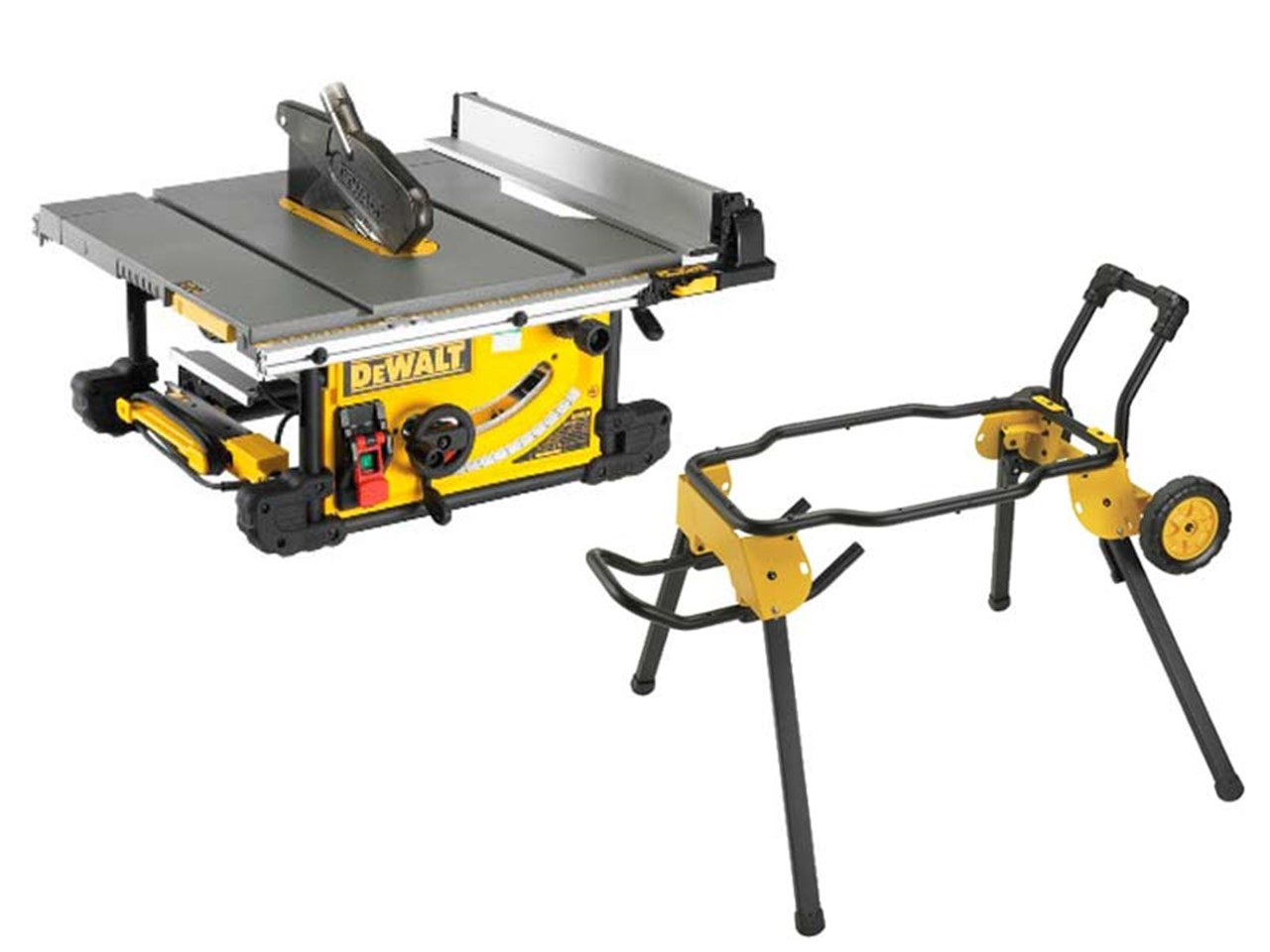 Dewalt dwe7491dwe74911 240v 250mm table saw and rolling leg stand greentooth