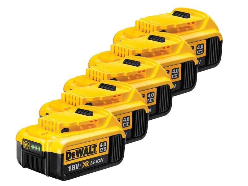 FIVE PACK Genuine Dewalt DCB182 18v 4.0ah XR  Battery
