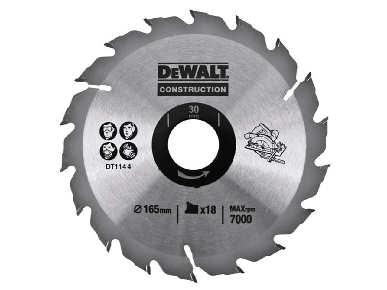 Dewalt dt1144 qz 165 x 30 x 18t circular saw construction blade greentooth Choice Image