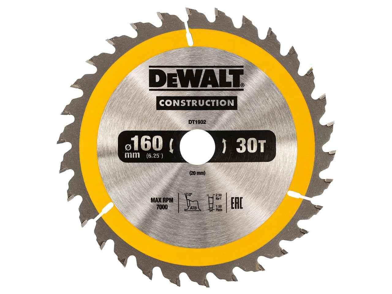 Dewalt dt1932qz construction circular saw blade 160x20mm 30t ac greentooth Images