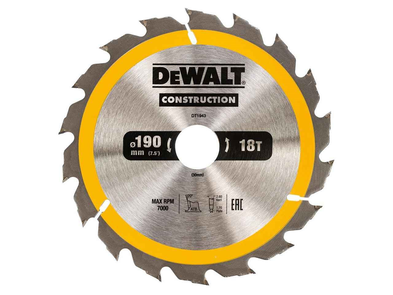 Dewalt dt1943qz construction circular saw blade 190x30mm 18t ac keyboard keysfo Images
