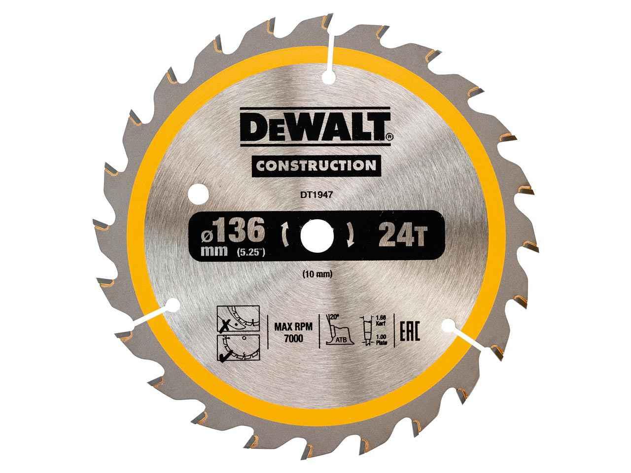 Dewalt dt1947qz construction circular saw blade 136x10mm 24t dc greentooth Gallery