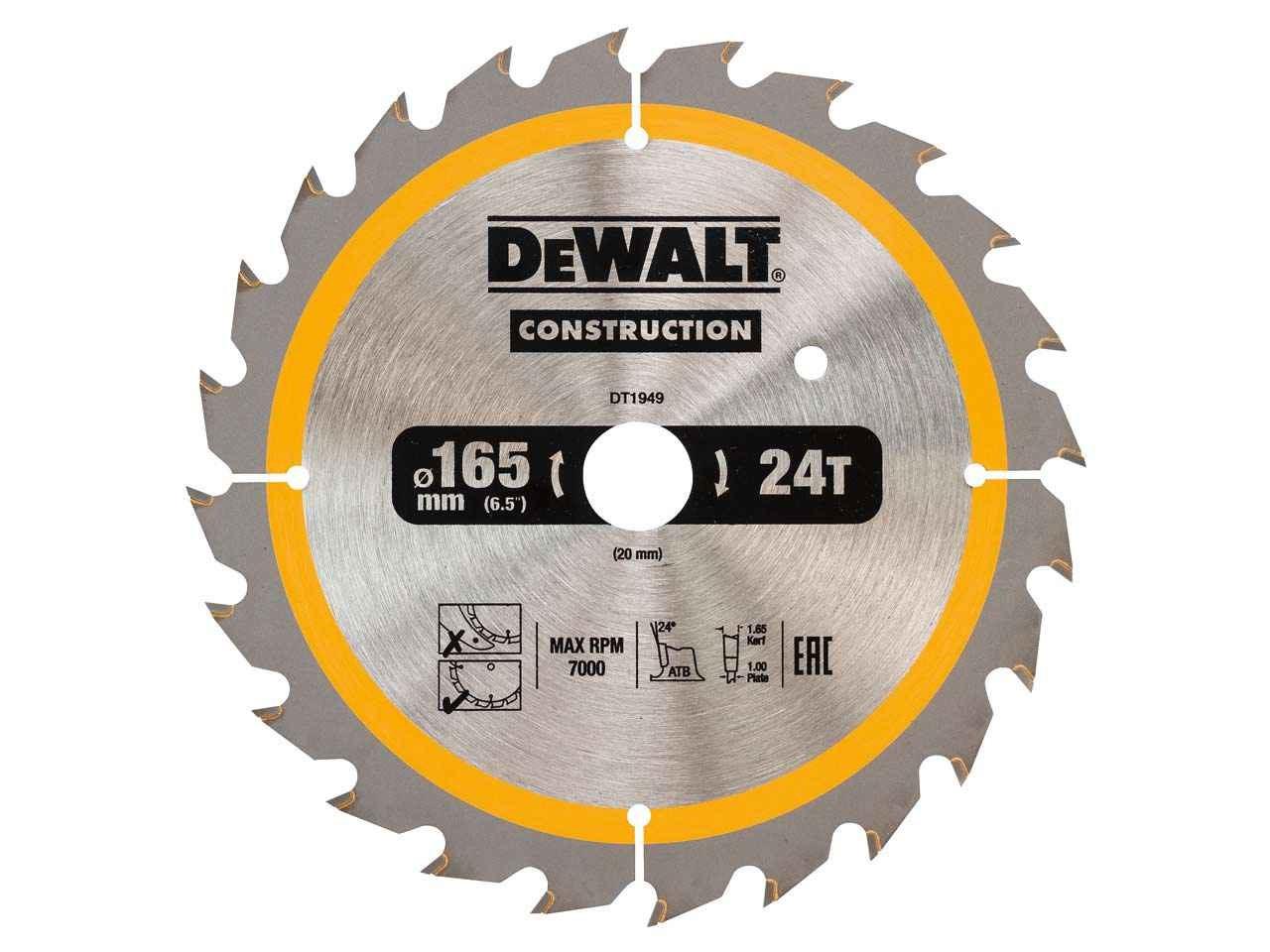 Dewalt dt1949 qz construction circular saw blade 165x20mm 24t greentooth Gallery