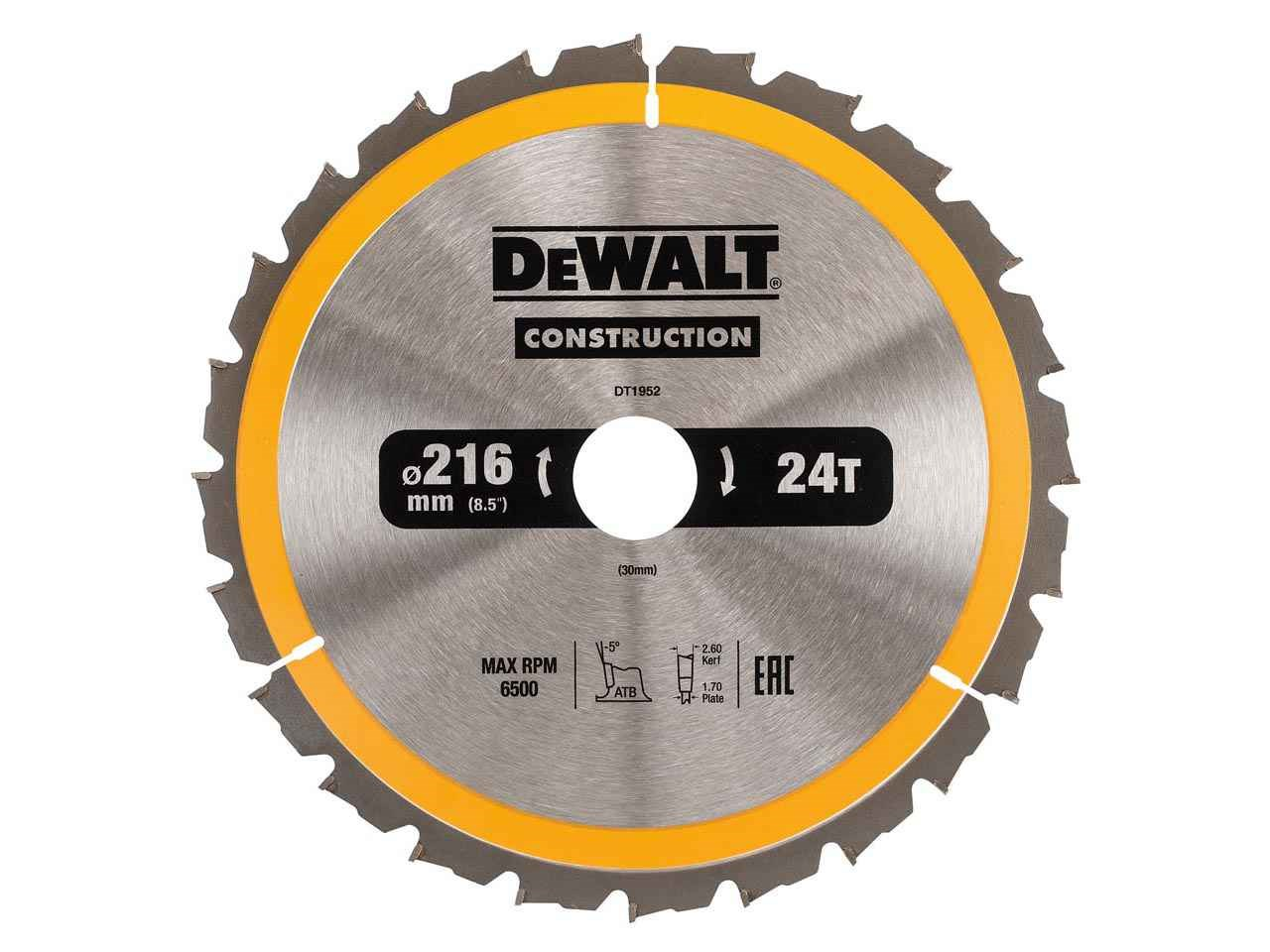 Dewalt dt1952qz construction circular saw blade 216mm x 30mm 24t keyboard keysfo