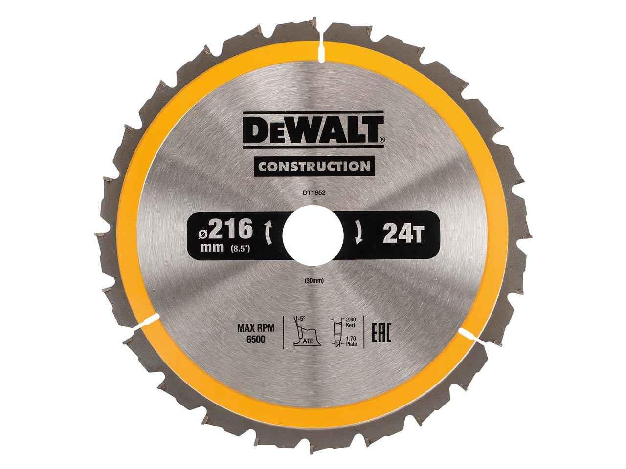 Dewalt dt1952qz construction circular saw blade 216mm x 30mm 24t greentooth Gallery