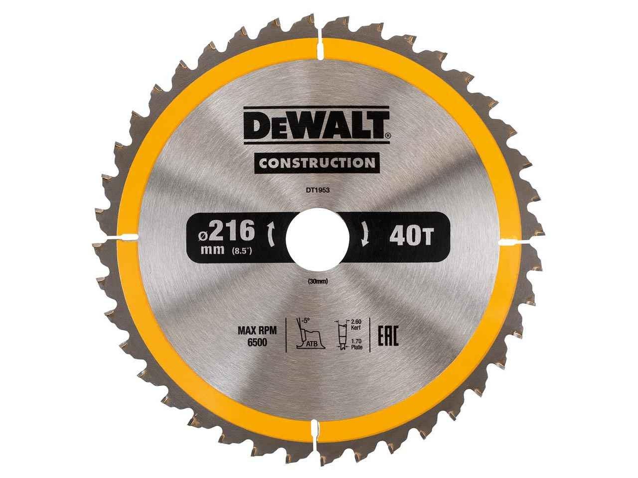 Dewalt dt1953qz construction circular saw blade 216x30mm 40t keyboard keysfo Gallery