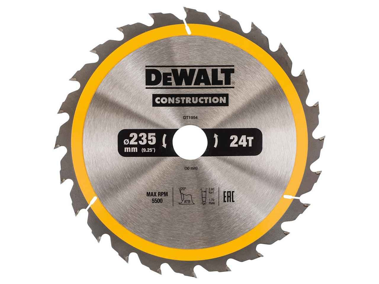 Dewalt dt1954qz construction circular saw blade 235x30mm 24t keyboard keysfo Images