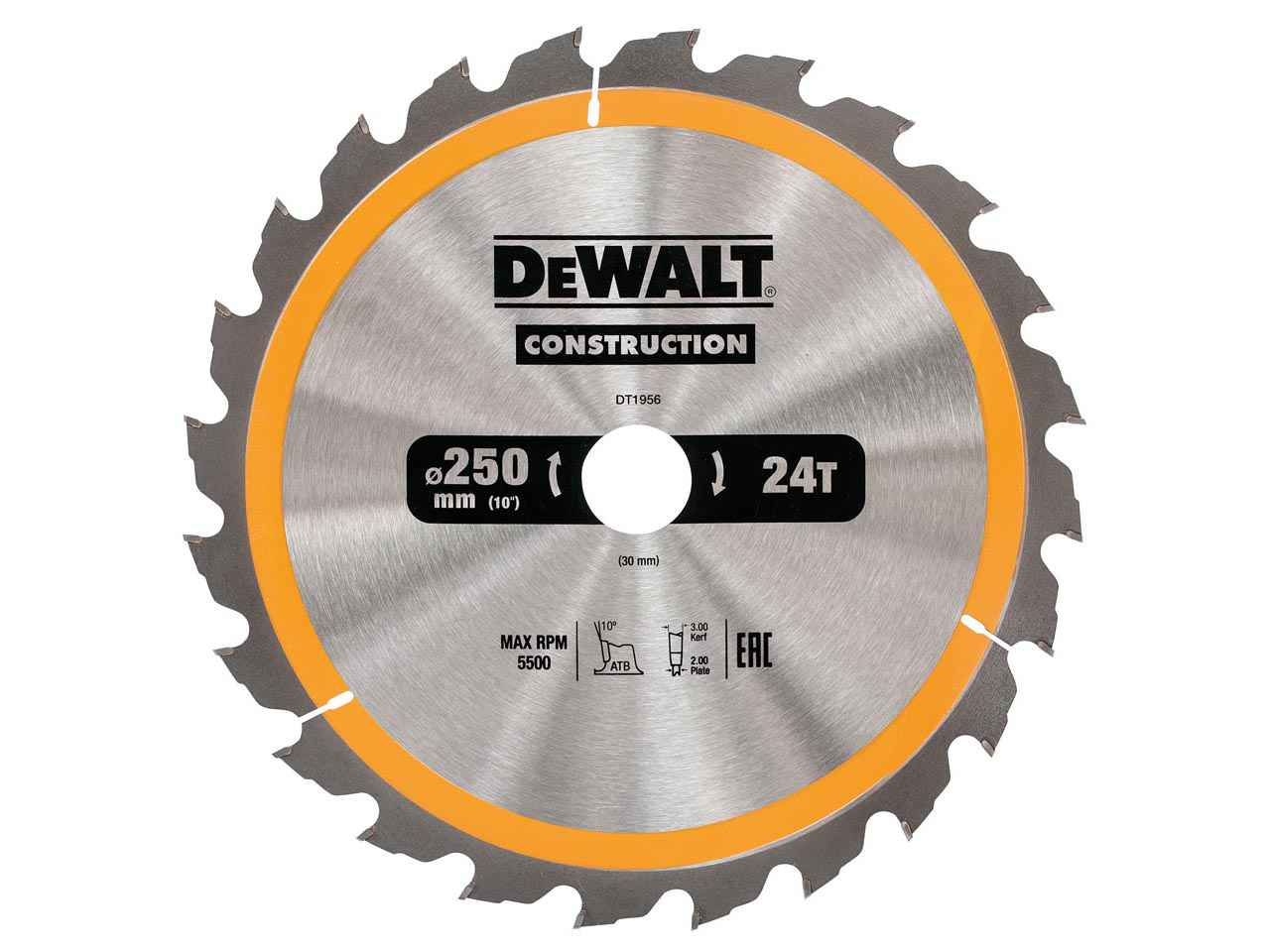 Dewalt dt1956qz construction circular saw blade 250x30mm 24t greentooth Choice Image